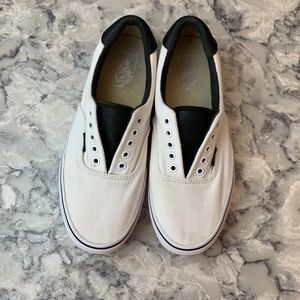 Mens White/Black Leather Vans